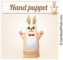 Hand Puppet Rabbit Cartoon vector illustration Series of...