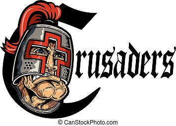 crusaders team design with large mascot head for school,...