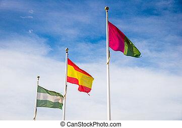 flags in Malaga, Spain
