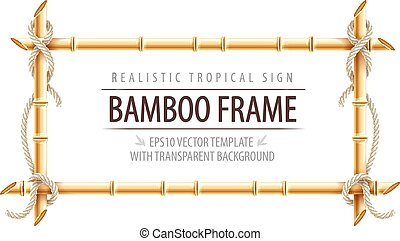 Bamboo frame template for tropical signboard with ropes and...