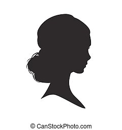 Silhouette of the woman on white background.