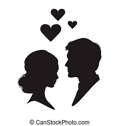 Silhouette of the woman and man on white background -...