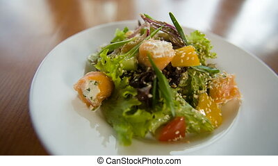 Fresh salad with fish - Fresh green salad with fish