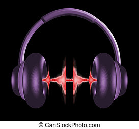 Headphones 1 - 3D illustration of a pair of headphones with...