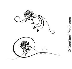 abstract rose template - floral element for obituary or...