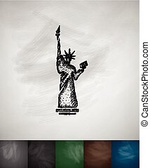 the Statue of Liberty icon Hand drawn vector illustration...