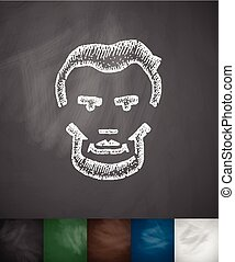 Lincoln icon. Hand drawn vector illustration. Chalkboard...