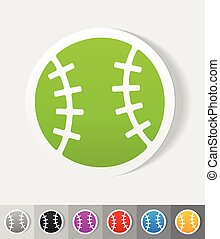 realistic design element baseball - baseball paper sticker...