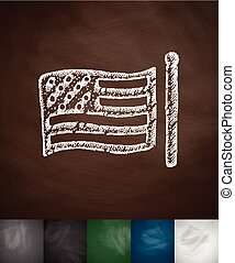 US flag icon. Hand drawn vector illustration. Chalkboard...