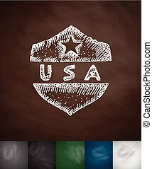 USA icon Hand drawn vector illustration Chalkboard Design