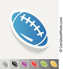 realistic design element rugby ball - rugby ball paper...