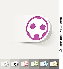 realistic design element football - football paper sticker...