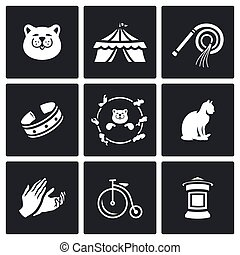 Vector Set of Cat Circus Icons. Kitty, Tent, Whip, Collar, Stunt, Applause, Bicycle, Poster.