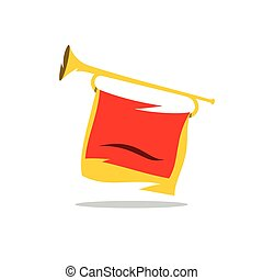 Trumpet with a Red Flag Vector Cartoon Illustration. - Bugle...