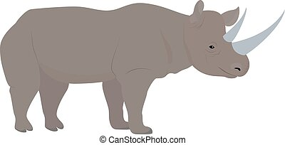 cartoon african rhino with big horns, vector - cartoon...