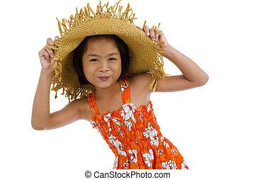 beautiful asian teeny, isolated on white background