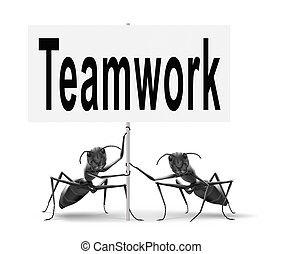teamwork road sign concept, team work and cooperation in...