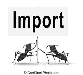 import sign - Import, international and worldwide or global...