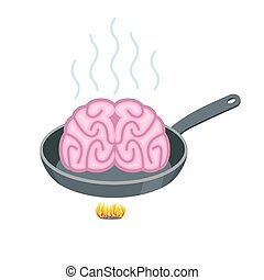 Brain in frying pan. Delicacy for Asia. Fry Pink brains on cast-iron frying pan