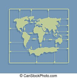 World map sprue or injection molding toy. Earth plastic model kit