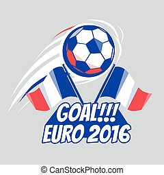 Football poster with ball. EURO 2016 France. Vector brochure...