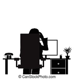 girl with computer in chair illustration