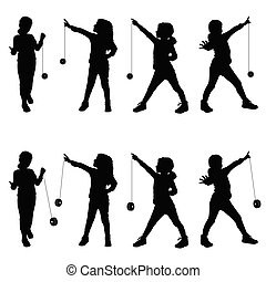 children with yo yo illustration silhouette