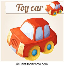 Toy red car. Cartoon vector illustration