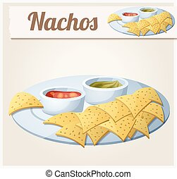 Nachos Tortilla Chips. Detailed Vector Icon. Series of food...