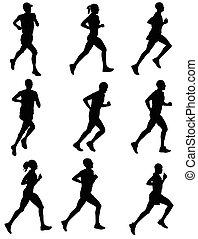 marathon silhouettes - marathon runners silhouettes - vector