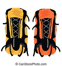Two modern tourist backpacks on white background - Two...