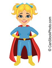 cute little girl dressed as a superhero on white background