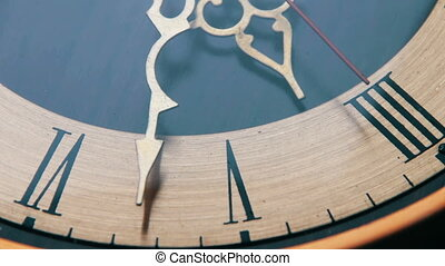 Vintage Analog Antique Clock with Arrows close-up ticking....