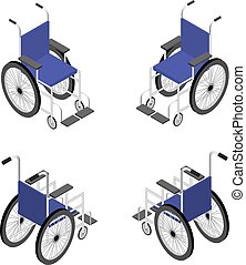Wheelchair detailed isometric icon vector graphic...