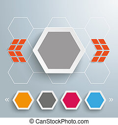 Hexagon 4 Buttons Honeycomb Template Design - Infographic...
