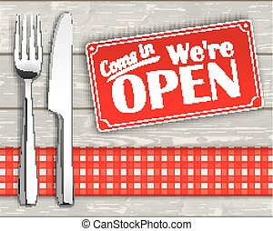 Wood Checked Cloth Knife Fork Sign Open - Knife and fork...