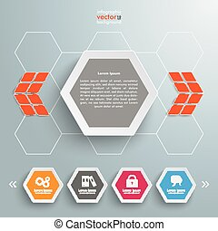 Hexagon 4 Buttons Template Design - Infographic design with...