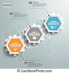 Hexagon Chart Growth 3 Options Gears - Infographic with...