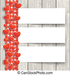Wood Red Checked Tablecloth Hearts 3 Banners