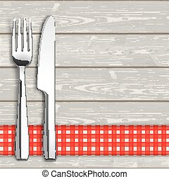 Wood Checked Table Cloth Knife And Fork - Knife and fork...