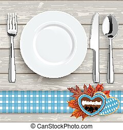 Wood Knife Fork Spoon Plate Oktoberfest Blue Tablecloth
