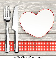 Wood Checked Table Cloth Knife Fork Heart