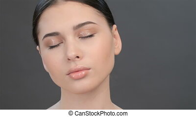 Close up of girl with closed eyes - Close up of pretty asian...