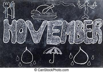 November handwritten on Blackboard - Handwritten November...