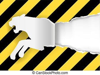 Paper Tiger Construction Sign Background - Paper silhouette...