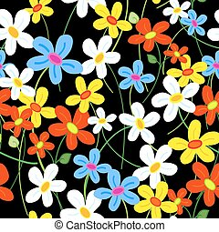 Seamless flower pattern over black - Seamless cute busy...