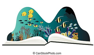 Pop-up book with underwater scenery on white background
