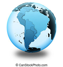 South America on translucent Earth - South America on...