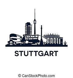 Stuttgart Skyline Emblem - Abstract skyline of city...