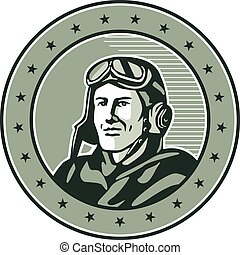 World War One Aviator Circle Retro - Illustration of a...